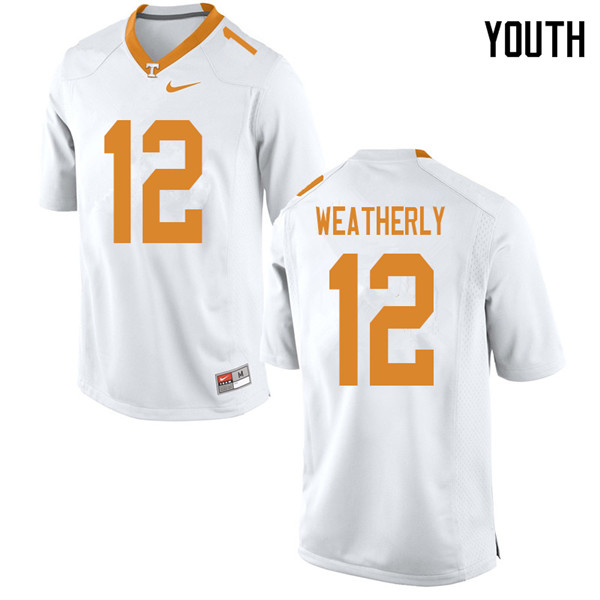 Youth #12 Zack Weatherly Tennessee Volunteers College Football Jerseys Sale-White
